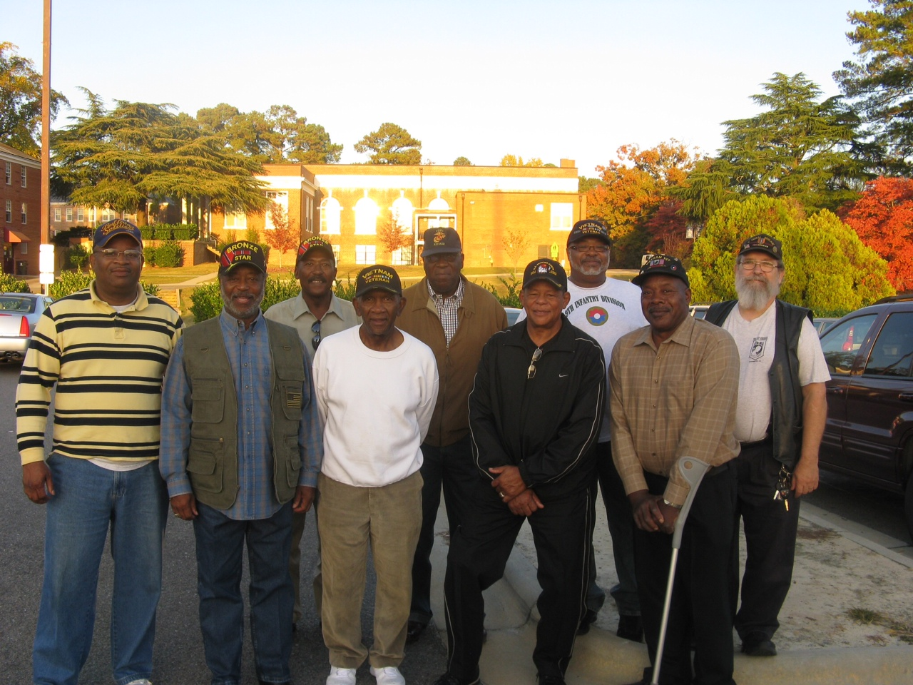 Group of veterans on the Duke campus